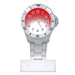 Polka Dot Circle Hole Red White Plastic Nurses Watch by Mariart