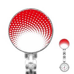 Polka Dot Circle Hole Red White Stainless Steel Nurses Watch by Mariart