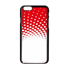 Polka Dot Circle Hole Red White Apple Iphone 6/6s Black Enamel Case by Mariart