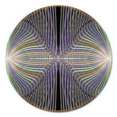 Color Fractal Symmetric Wave Lines Magnet 5  (round) by Simbadda