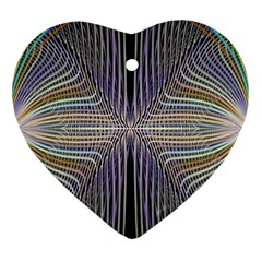 Color Fractal Symmetric Wave Lines Heart Ornament (two Sides)