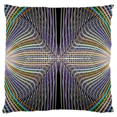Color Fractal Symmetric Wave Lines Large Cushion Case (one Side) by Simbadda