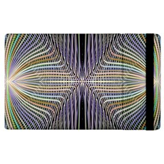 Color Fractal Symmetric Wave Lines Apple Ipad 3/4 Flip Case by Simbadda