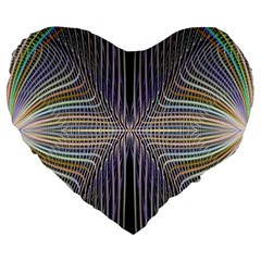 Color Fractal Symmetric Wave Lines Large 19  Premium Flano Heart Shape Cushions by Simbadda