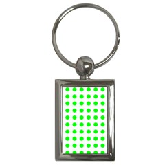 Polka Dot Green Key Chains (rectangle)  by Mariart