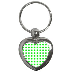 Polka Dot Green Key Chains (heart)  by Mariart