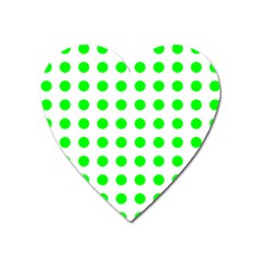 Polka Dot Green Heart Magnet by Mariart