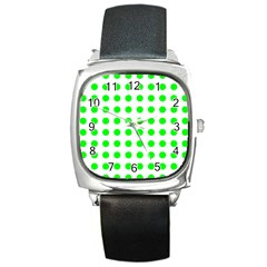 Polka Dot Green Square Metal Watch by Mariart