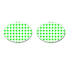 Polka Dot Green Cufflinks (oval) by Mariart