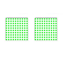 Polka Dot Green Cufflinks (square)
