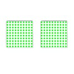Polka Dot Green Cufflinks (Square) Front