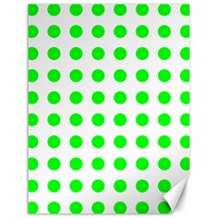 Polka Dot Green Canvas 12  X 16   by Mariart