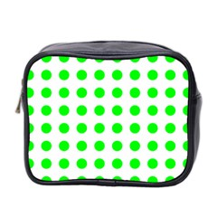 Polka Dot Green Mini Toiletries Bag 2 Side