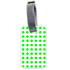 Polka Dot Green Luggage Tags (one Side)  by Mariart