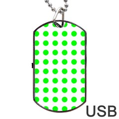 Polka Dot Green Dog Tag Usb Flash (two Sides) by Mariart