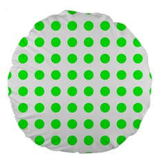 Polka Dot Green Large 18  Premium Round Cushions by Mariart