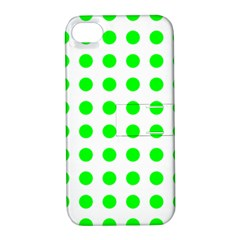 Polka Dot Green Apple Iphone 4/4s Hardshell Case With Stand by Mariart