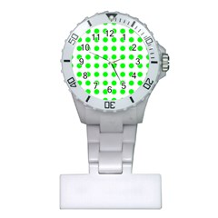Polka Dot Green Plastic Nurses Watch by Mariart