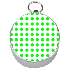 Polka Dot Green Silver Compasses by Mariart