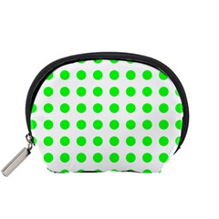 Polka Dot Green Accessory Pouches (small)  by Mariart