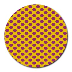 Polka Dot Purple Yellow Orange Round Mousepads by Mariart