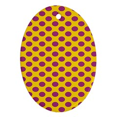 Polka Dot Purple Yellow Orange Ornament (oval) by Mariart