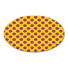 Polka Dot Purple Yellow Orange Oval Magnet by Mariart