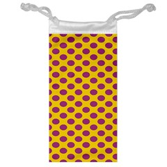 Polka Dot Purple Yellow Orange Jewelry Bag by Mariart