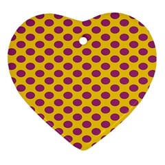 Polka Dot Purple Yellow Orange Heart Ornament (two Sides) by Mariart