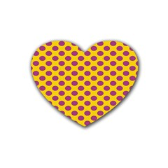 Polka Dot Purple Yellow Orange Heart Coaster (4 Pack)  by Mariart