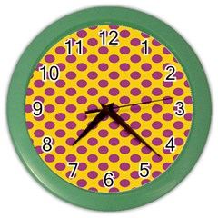 Polka Dot Purple Yellow Orange Color Wall Clocks