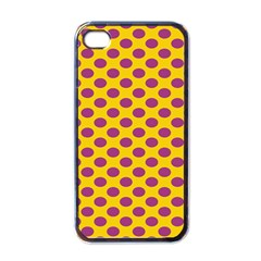 Polka Dot Purple Yellow Orange Apple Iphone 4 Case (black) by Mariart