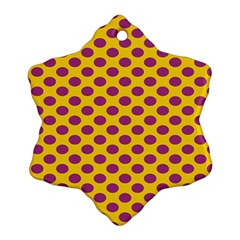 Polka Dot Purple Yellow Orange Ornament (snowflake) by Mariart