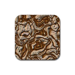 Fractal Background Mud Flow Rubber Square Coaster (4 Pack)  by Simbadda