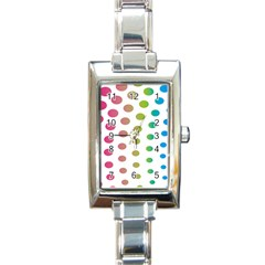 Polka Dot Pink Green Blue Rectangle Italian Charm Watch by Mariart