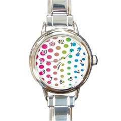 Polka Dot Pink Green Blue Round Italian Charm Watch by Mariart