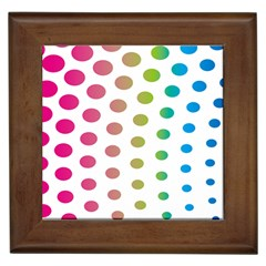 Polka Dot Pink Green Blue Framed Tiles by Mariart