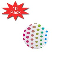 Polka Dot Pink Green Blue 1  Mini Magnet (10 Pack)  by Mariart