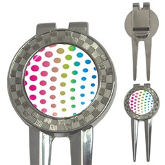 Polka Dot Pink Green Blue 3 In 1 Golf Divots by Mariart