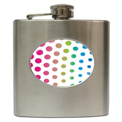 Polka Dot Pink Green Blue Hip Flask (6 Oz) by Mariart