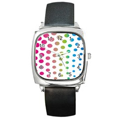 Polka Dot Pink Green Blue Square Metal Watch by Mariart