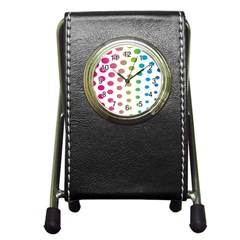 Polka Dot Pink Green Blue Pen Holder Desk Clocks by Mariart