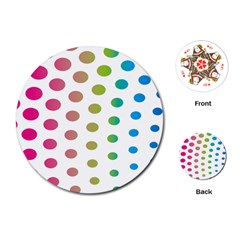 Polka Dot Pink Green Blue Playing Cards (round)  by Mariart