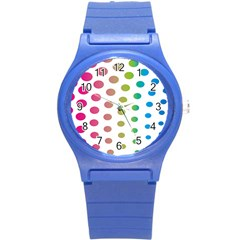 Polka Dot Pink Green Blue Round Plastic Sport Watch (s) by Mariart
