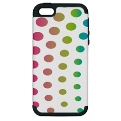 Polka Dot Pink Green Blue Apple Iphone 5 Hardshell Case (pc+silicone)