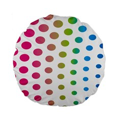 Polka Dot Pink Green Blue Standard 15  Premium Flano Round Cushions by Mariart