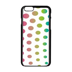 Polka Dot Pink Green Blue Apple Iphone 6/6s Black Enamel Case by Mariart
