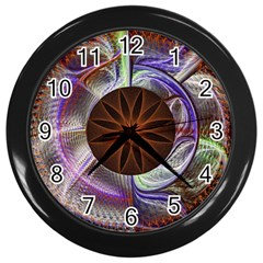Background Image With Hidden Fractal Flower Wall Clocks (black) by Simbadda