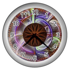 Background Image With Hidden Fractal Flower Wall Clocks (silver)