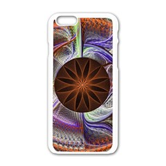 Background Image With Hidden Fractal Flower Apple Iphone 6/6s White Enamel Case by Simbadda